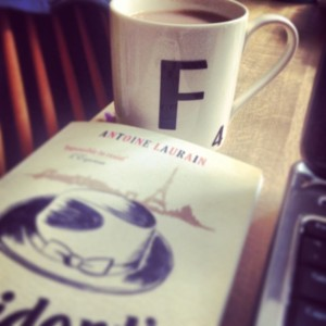 Tea, Cup of tea, Scrabble mug, Book, The President's Hat, Atnoine Laurain, Laptop, Writing
