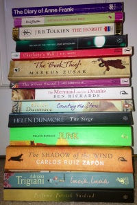 Books, The Book Thief, The Mermaid and the Drunks, Junk, The Shadow of the Wind, Melvin Burgess, Carlos Ruiz Zafon, Marcus Zusak, The Day of the Triffids, The Hobbit, J.R.R Tolkien, Helen Dunmore, The Siege, Charlotte's Web, E.B White, The Diary of Anne Frank, Enid Blyton, The Magic Faraway Tree, Adriana Trigiani, Lucia Lucia, Perfume, Patrick Suskind, The Silver Sword, Counting the Stars